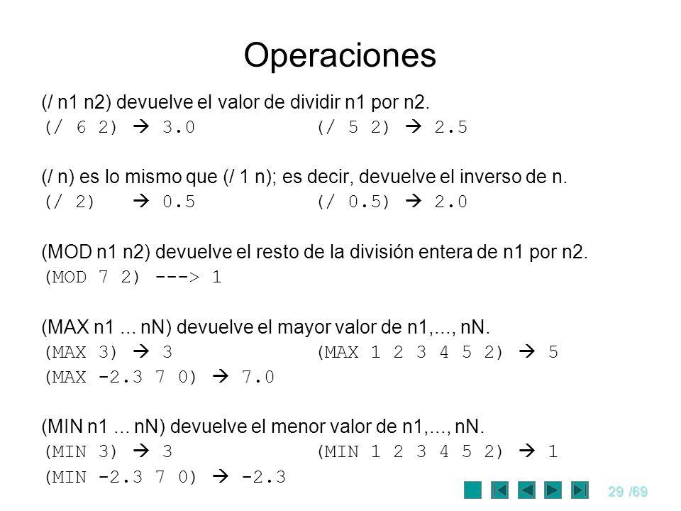 Operaciones (/ n1 n2) devuelve el valor de dividir n1 por n2.
