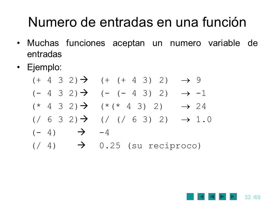 Numero de entradas en una función