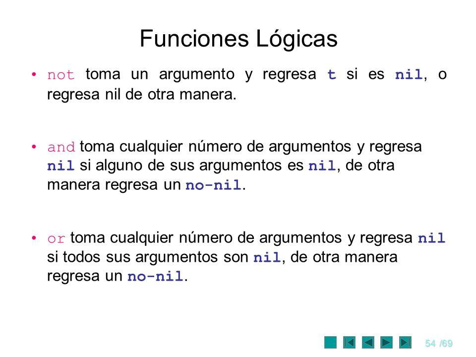 Funciones Lógicas not toma un argumento y regresa t si es nil, o regresa nil de otra manera.