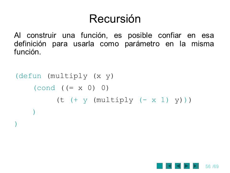 Recursión Al construir una función, es posible confiar en esa definición para usarla como parámetro en la misma función.