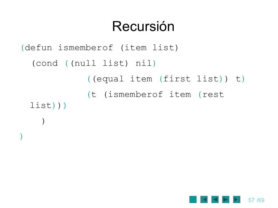 Recursión (defun ismemberof (item list) (cond ((null list) nil)
