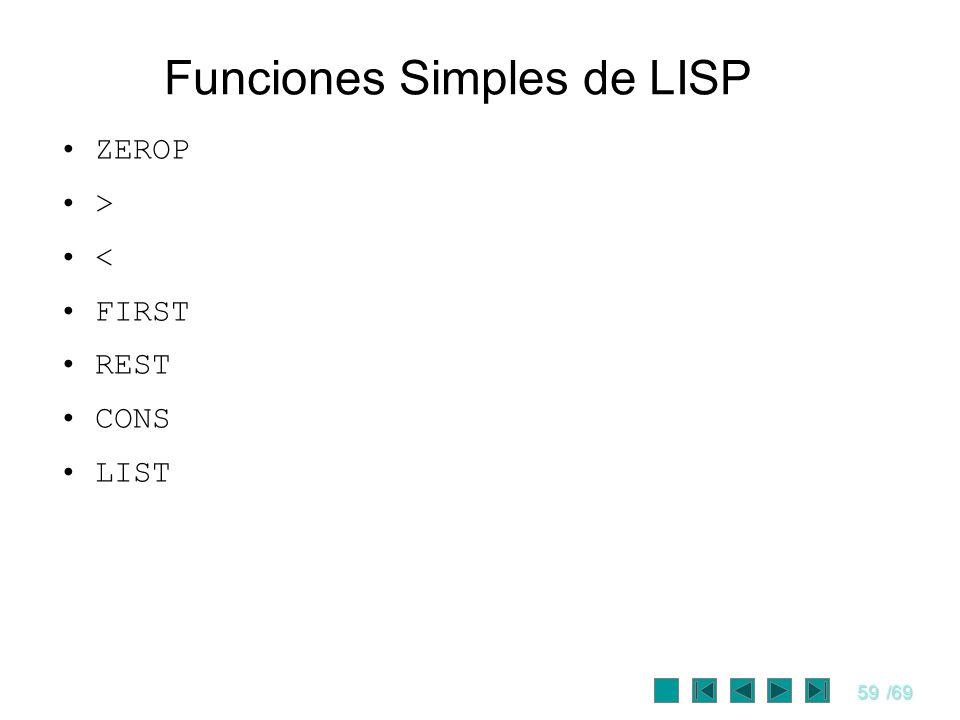 Funciones Simples de LISP
