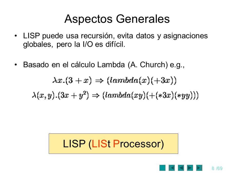 Aspectos Generales LISP (LISt Processor)