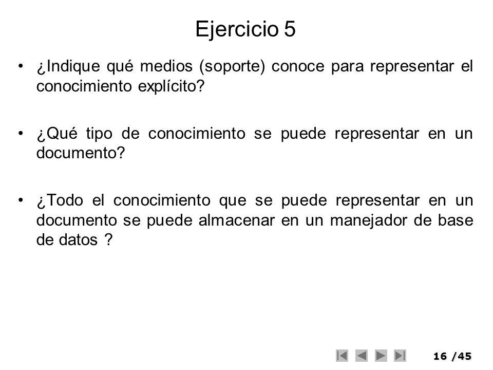 Ejercicio 5 ¿Indique qué medios (soporte) conoce para representar el conocimiento explícito