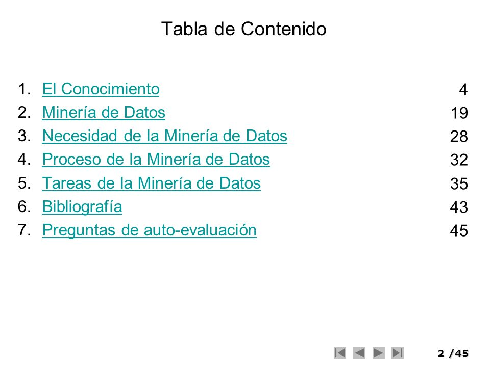 Tabla de Contenido El Conocimiento 4 Minería de Datos 19