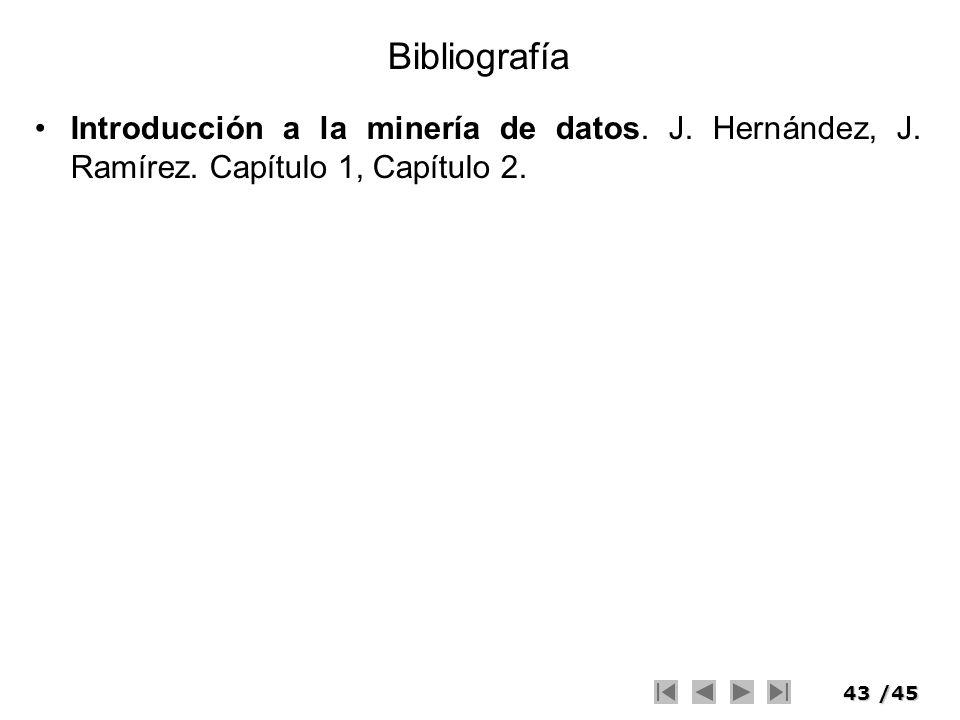 Bibliografía Introducción a la minería de datos. J. Hernández, J. Ramírez. Capítulo 1, Capítulo 2.