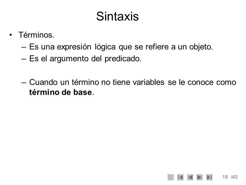 Sintaxis Términos. Es una expresión lógica que se refiere a un objeto.