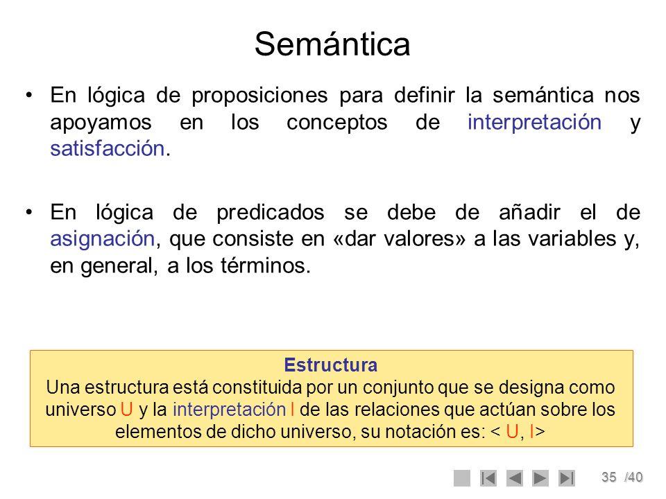 Semántica En lógica de proposiciones para definir la semántica nos apoyamos en los conceptos de interpretación y satisfacción.