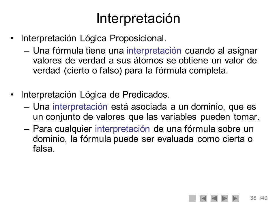 Interpretación Interpretación Lógica Proposicional.
