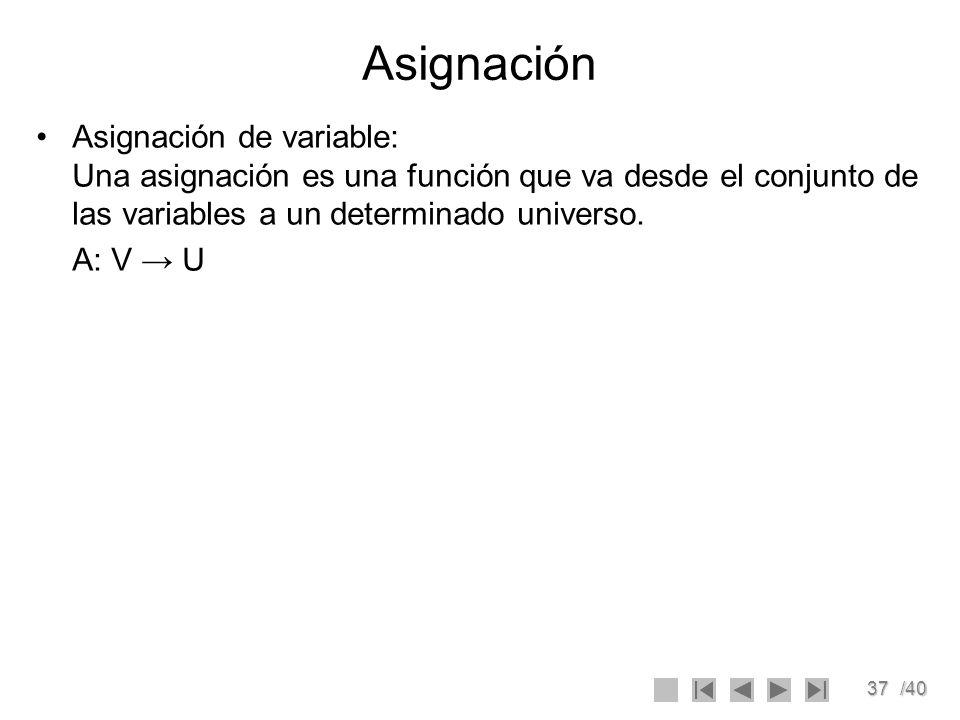 Asignación Asignación de variable: Una asignación es una función que va desde el conjunto de las variables a un determinado universo.