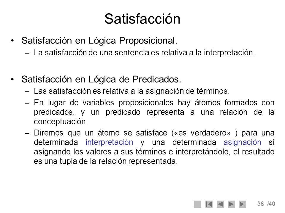 Satisfacción Satisfacción en Lógica Proposicional.