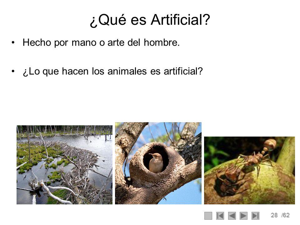 ¿Qué es Artificial Hecho por mano o arte del hombre.