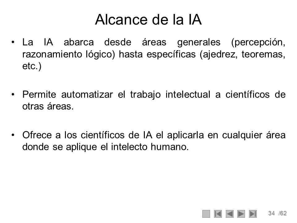 Alcance de la IA La IA abarca desde áreas generales (percepción, razonamiento lógico) hasta específicas (ajedrez, teoremas, etc.)