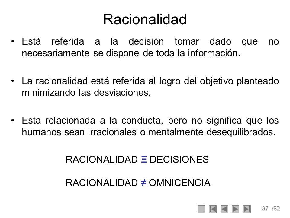 Racionalidad Está referida a la decisión tomar dado que no necesariamente se dispone de toda la información.