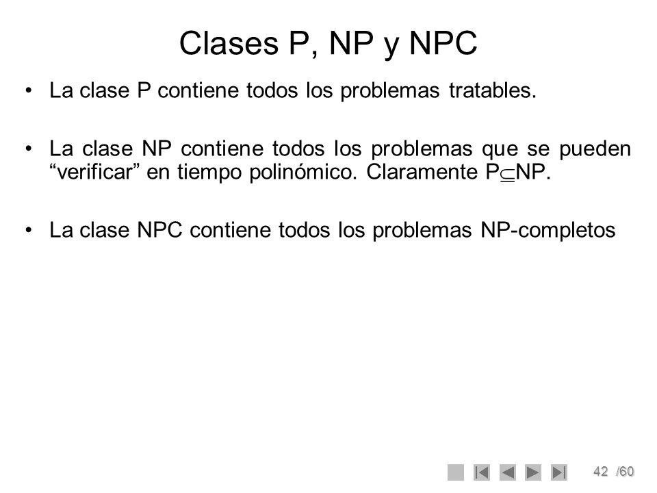 Clases P, NP y NPC La clase P contiene todos los problemas tratables.