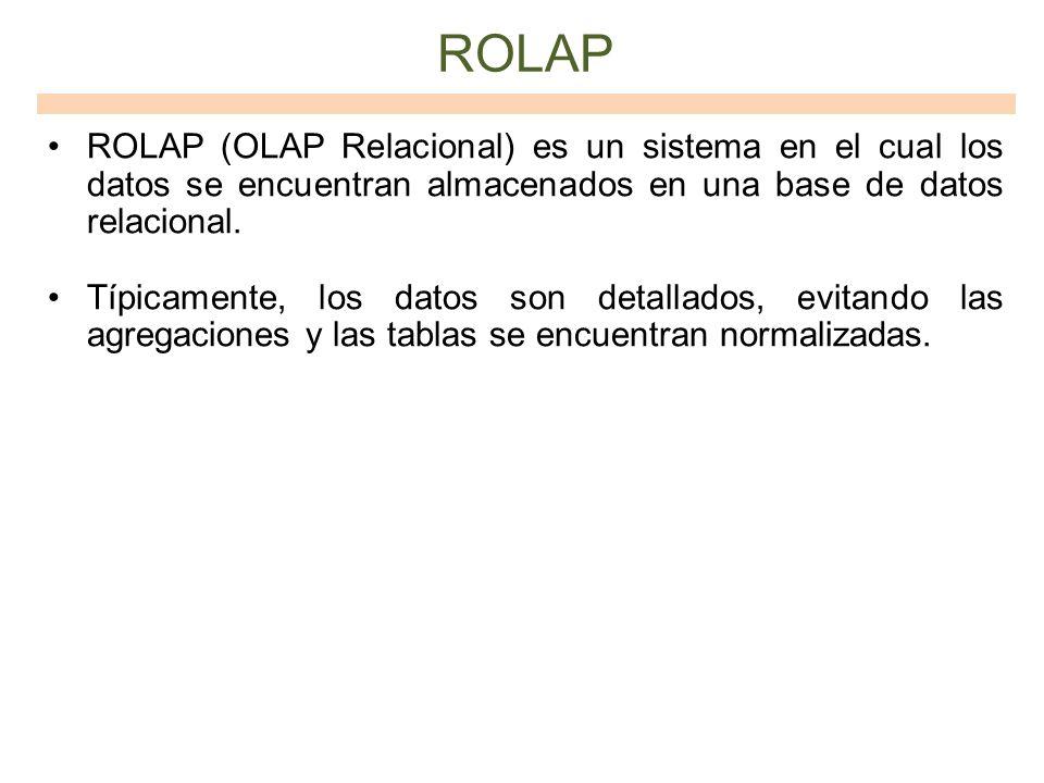 ROLAP ROLAP (OLAP Relacional) es un sistema en el cual los datos se encuentran almacenados en una base de datos relacional.