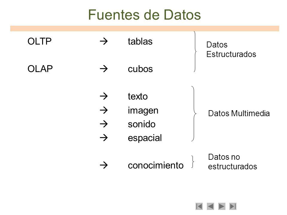 Fuentes de Datos OLTP  tablas OLAP  cubos  texto  imagen  sonido