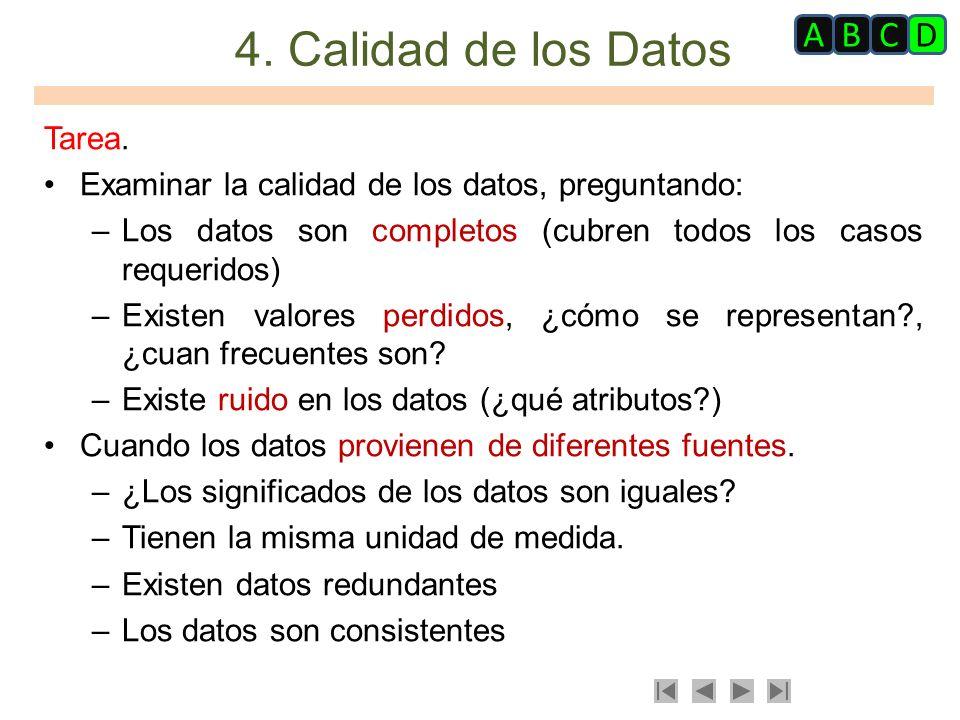 4. Calidad de los Datos A B C D Tarea.