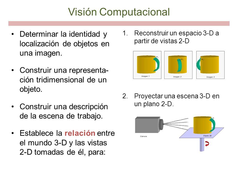 Visión Computacional Determinar la identidad y localización de objetos en una imagen. Construir una representa-ción tridimensional de un objeto.