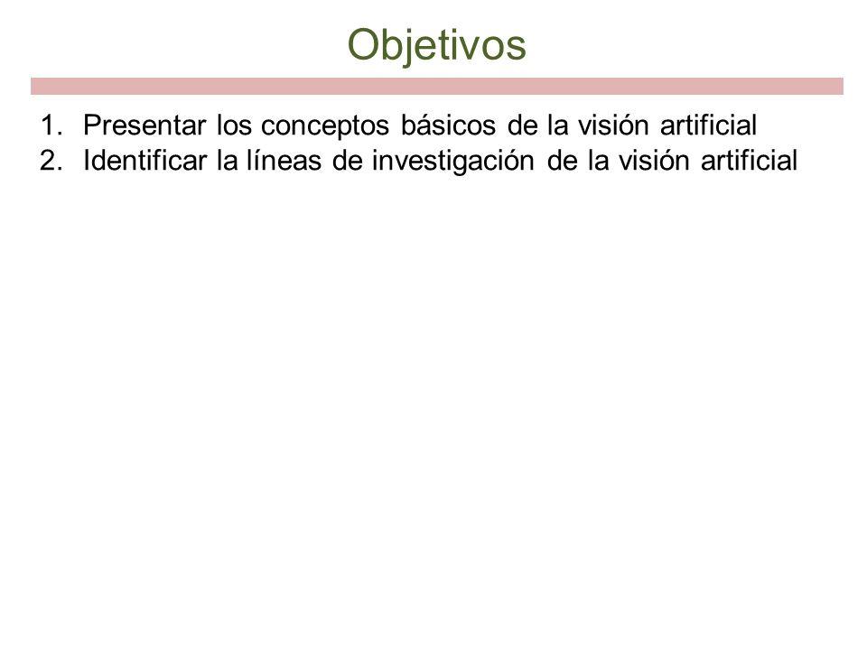 Objetivos Presentar los conceptos básicos de la visión artificial