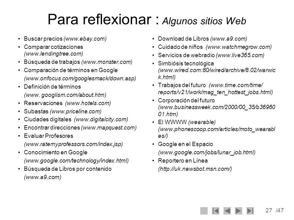 Para reflexionar : Algunos sitios Web
