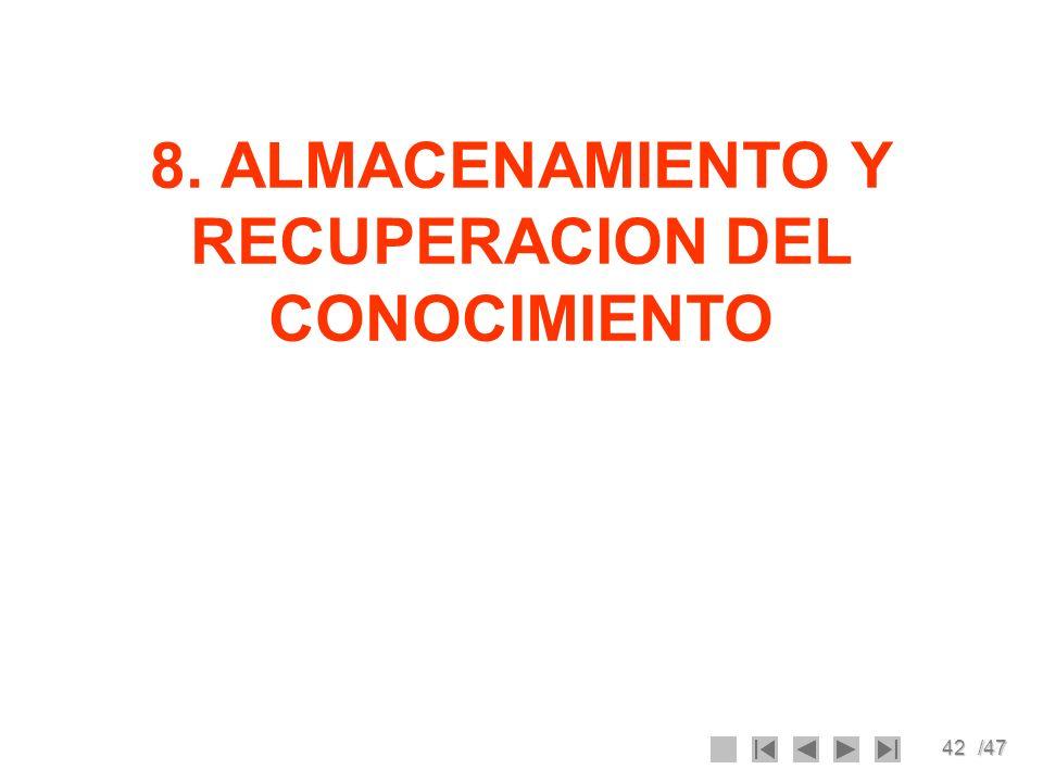 8. ALMACENAMIENTO Y RECUPERACION DEL CONOCIMIENTO