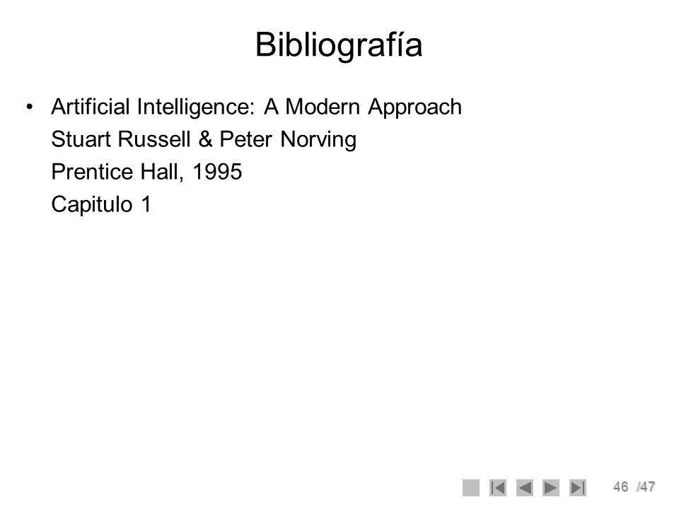 Bibliografía Artificial Intelligence: A Modern Approach