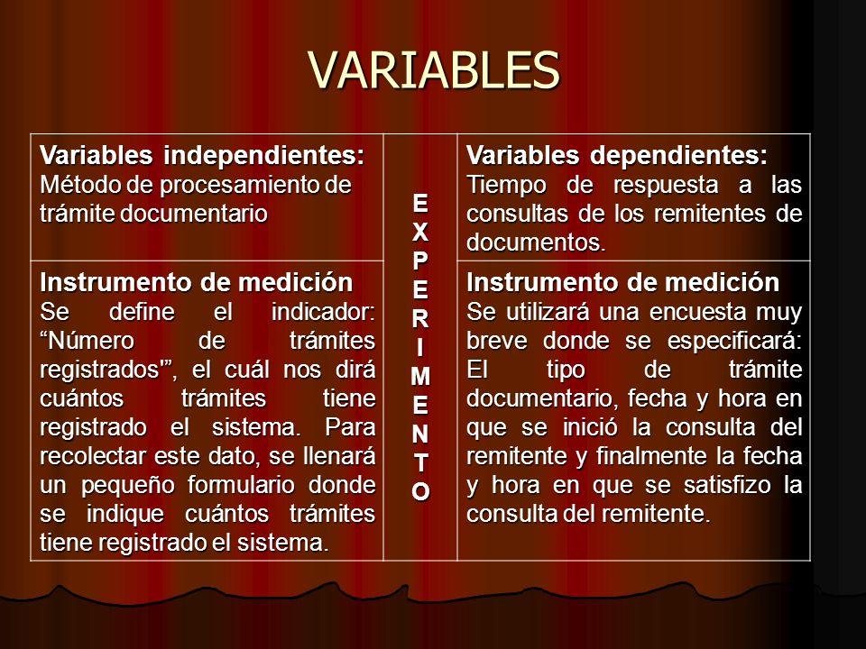VARIABLES Variables independientes: Variables dependientes: