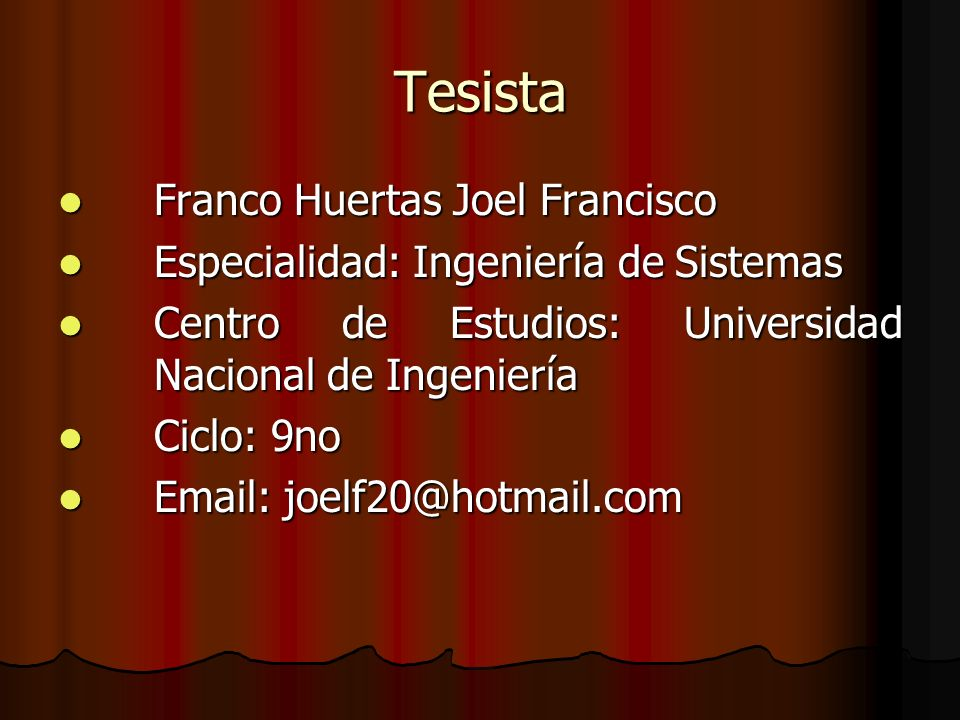 Tesista Franco Huertas Joel Francisco