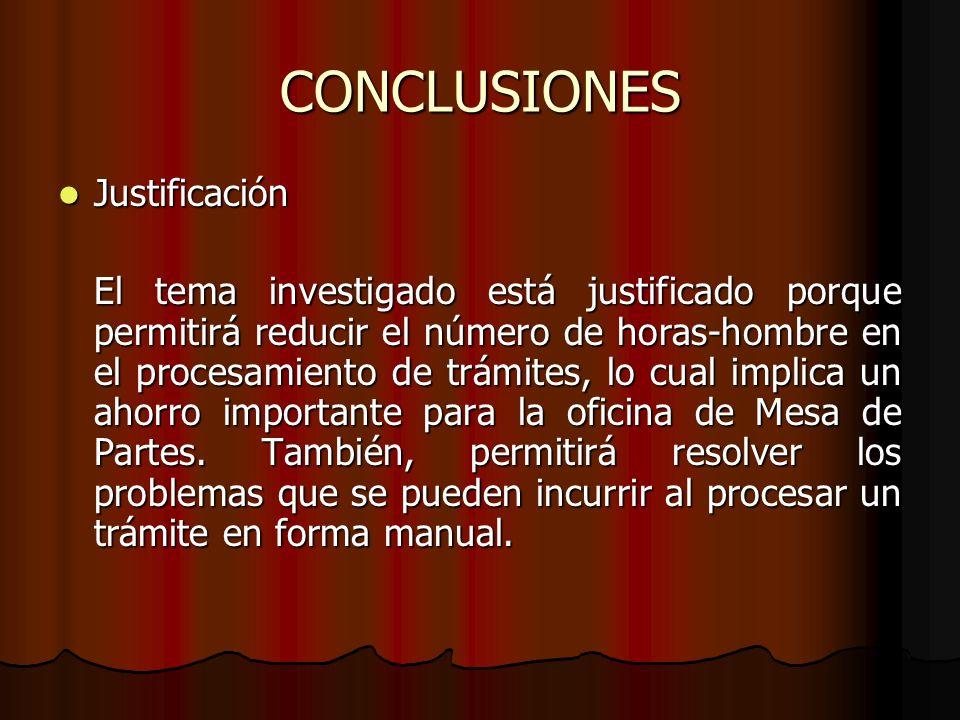 CONCLUSIONES Justificación