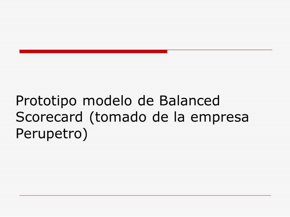 Prototipo modelo de Balanced Scorecard (tomado de la empresa Perupetro)