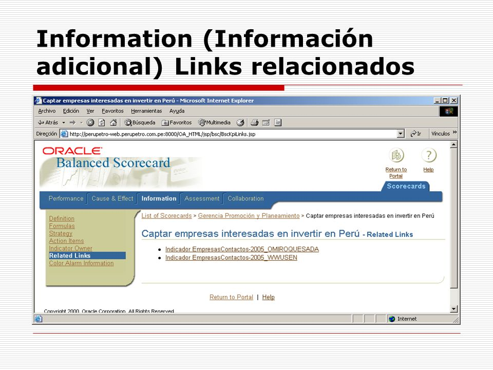 Information (Información adicional) Links relacionados