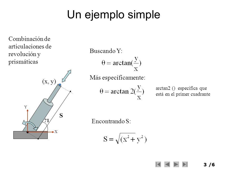 Un ejemplo simple Combinación de articulaciones de revolución y prismáticas. Buscando Y: Más específicamente: