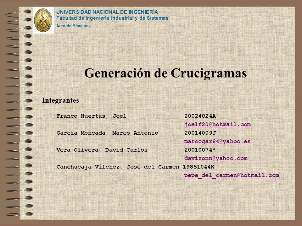 Generación de Crucigramas