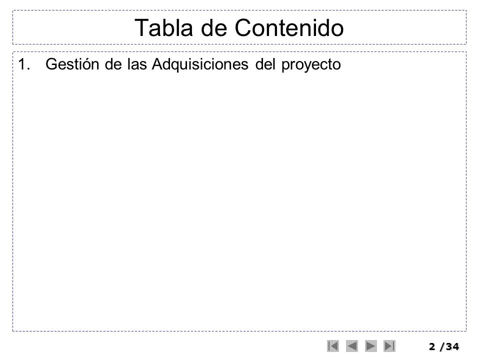 Tabla de Contenido Gestión de las Adquisiciones del proyecto