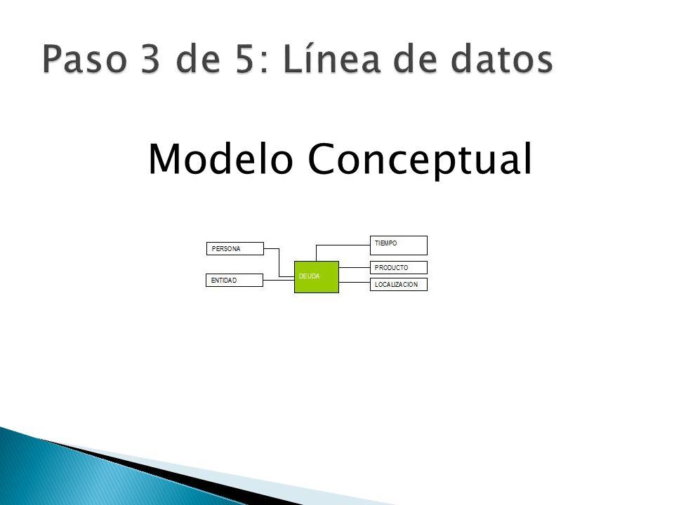 Paso 3 de 5: Línea de datos Modelo Conceptual