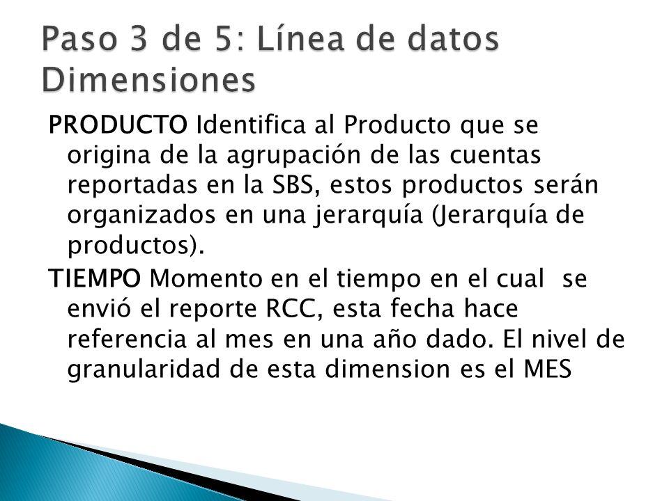Paso 3 de 5: Línea de datos Dimensiones