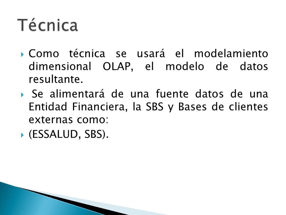 Técnica Como técnica se usará el modelamiento dimensional OLAP, el modelo de datos resultante.