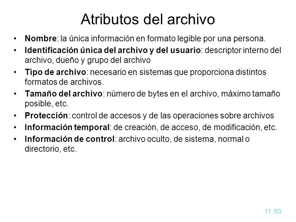 Atributos del archivo Nombre: la única información en formato legible por una persona.