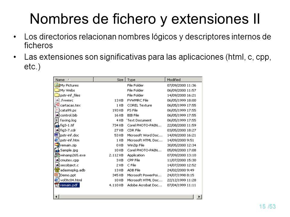 Nombres de fichero y extensiones II
