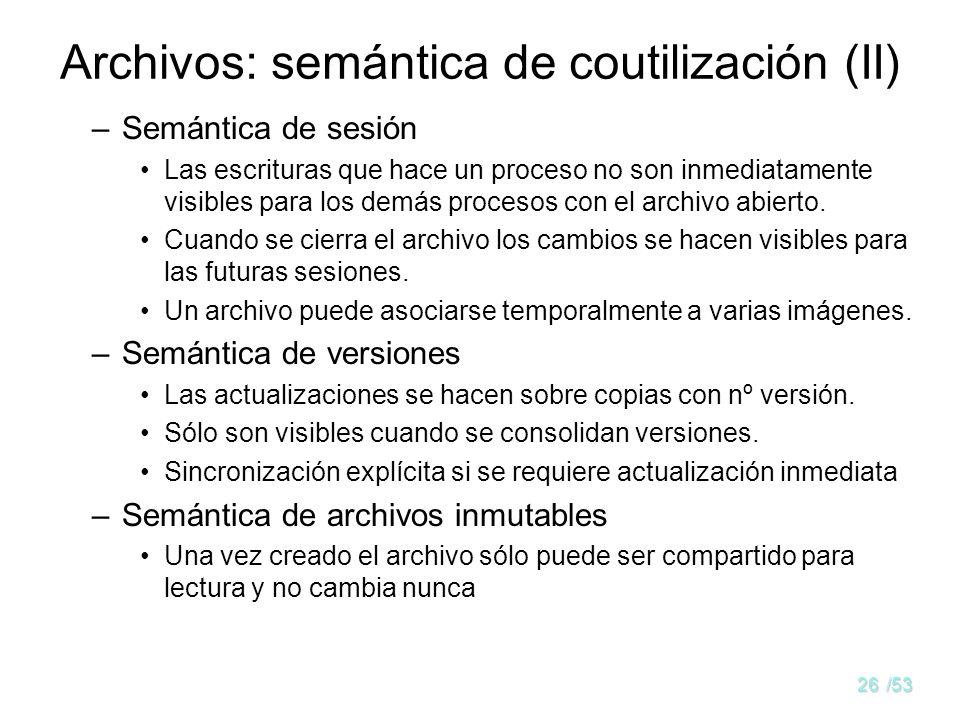 Archivos: semántica de coutilización (II)