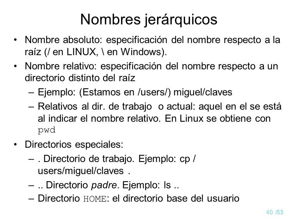 Nombres jerárquicos Nombre absoluto: especificación del nombre respecto a la raíz (/ en LINUX, \ en Windows).