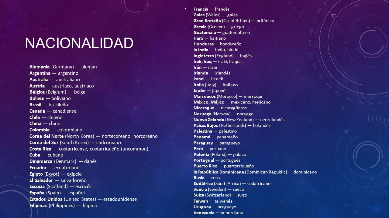Forms and uses of ser ppt descargar - Nacionalidad de puerto rico en ingles ...