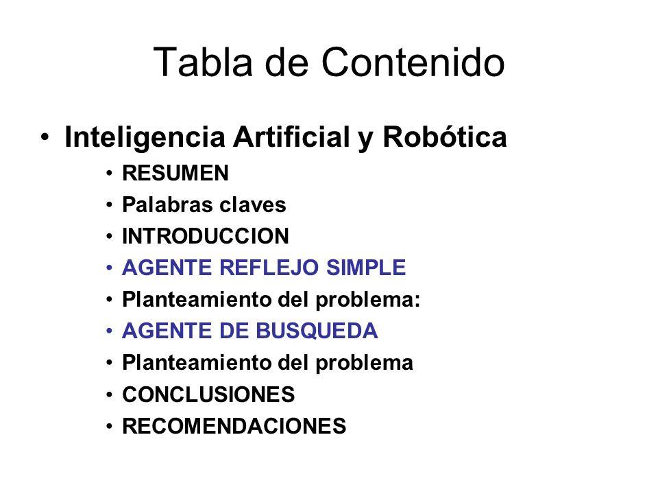 Tabla de Contenido Inteligencia Artificial y Robótica RESUMEN