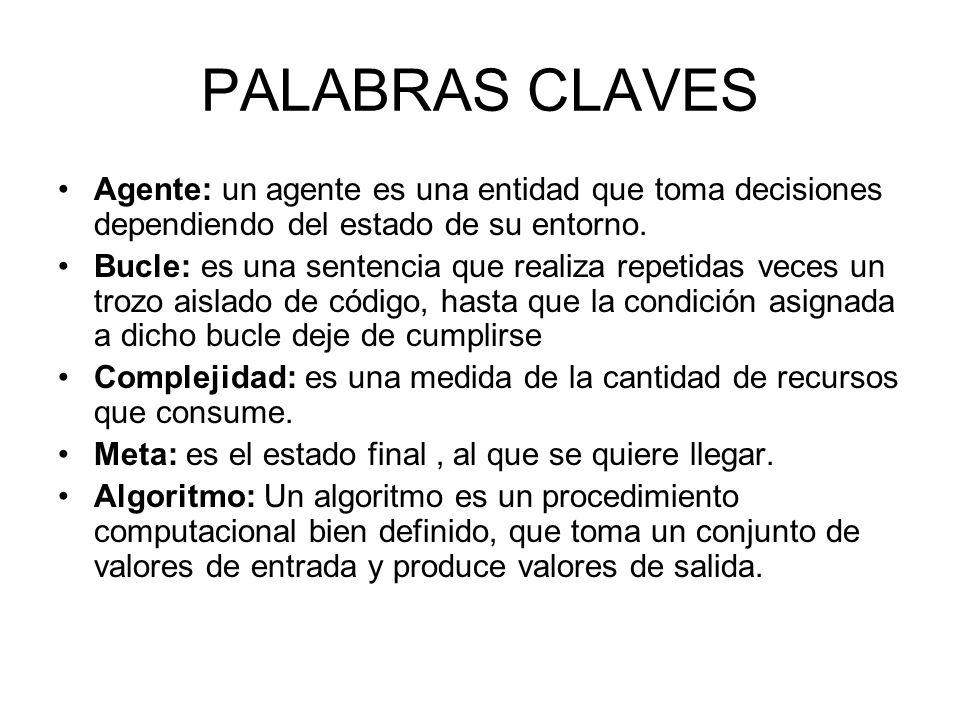 PALABRAS CLAVES Agente: un agente es una entidad que toma decisiones dependiendo del estado de su entorno.