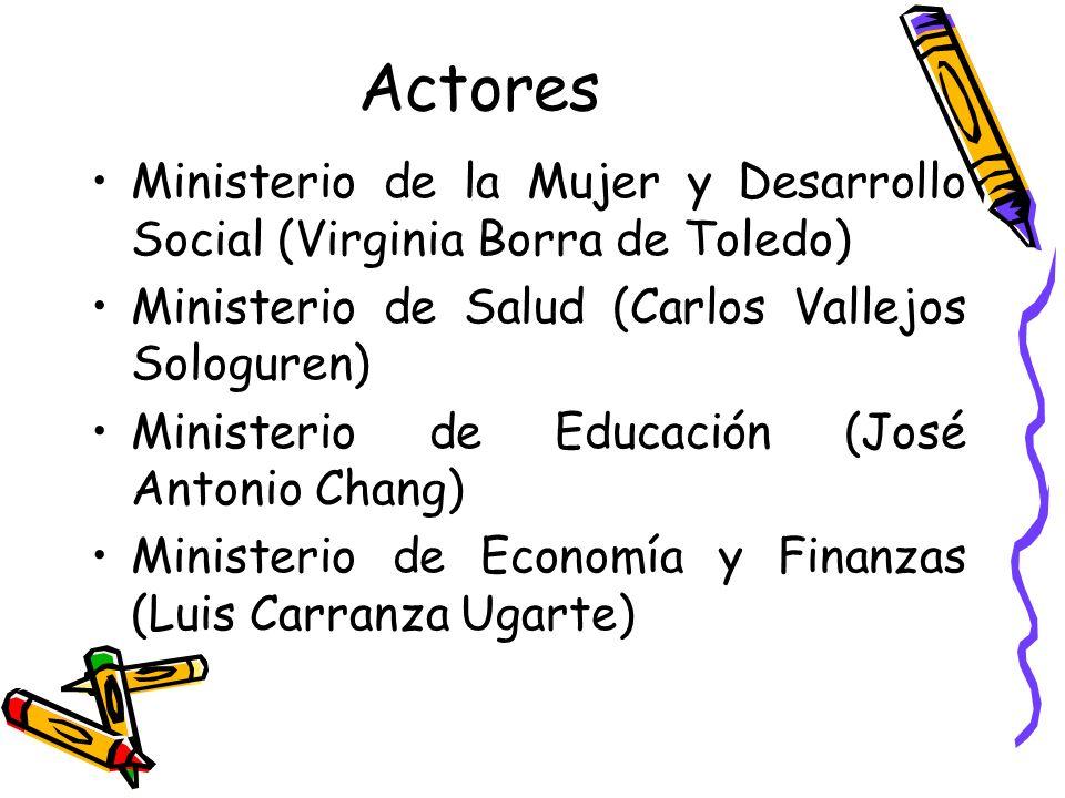 Actores Ministerio de la Mujer y Desarrollo Social (Virginia Borra de Toledo) Ministerio de Salud (Carlos Vallejos Sologuren)