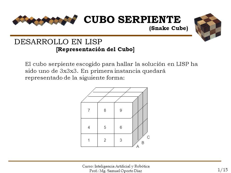 CUBO SERPIENTE DESARROLLO EN LISP (Snake Cube)