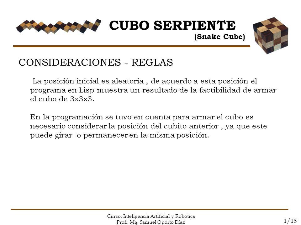 CUBO SERPIENTE CONSIDERACIONES - REGLAS (Snake Cube)