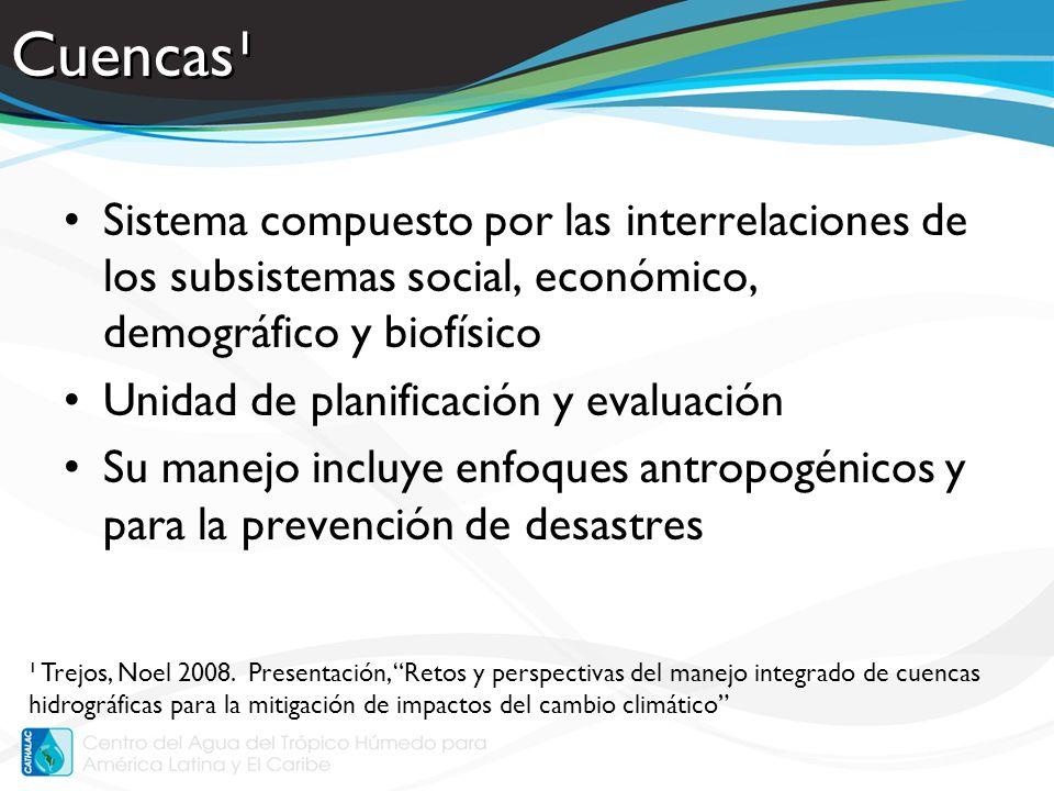 Cuencas¹Sistema compuesto por las interrelaciones de los subsistemas social, económico, demográfico y biofísico.