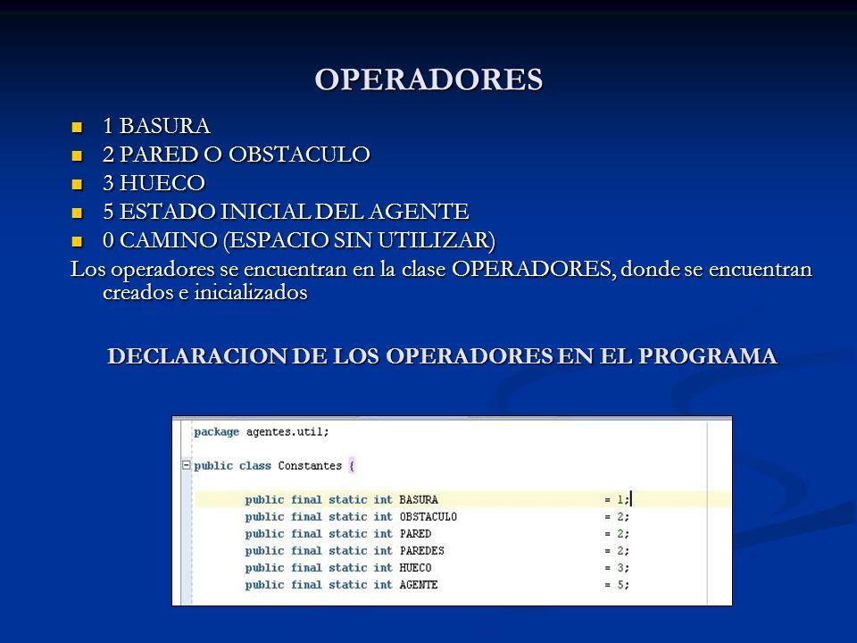 DECLARACION DE LOS OPERADORES EN EL PROGRAMA